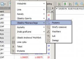 Mierzenie wewnętrzne za pomocą narzędzia Fibonacci Poziomy